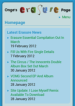 Screenshot of the Onge's Erasure Page mobile website